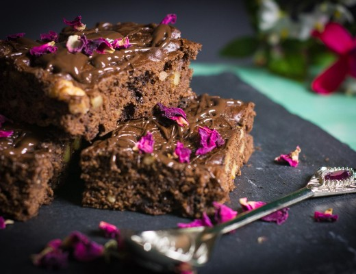vegane Walnuss Schoko Brownies