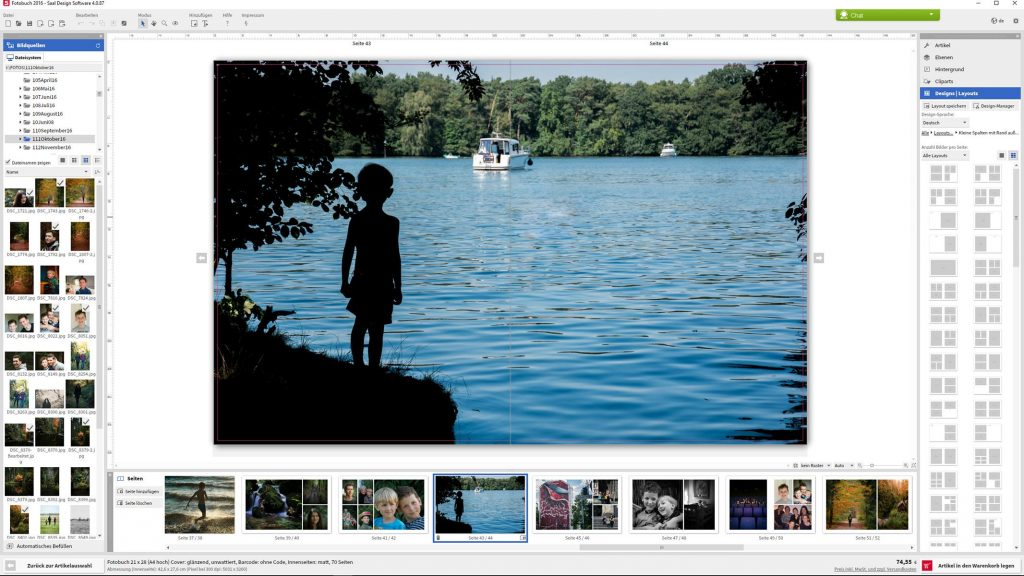 Screenshot Saal Digital Fotobuch Test
