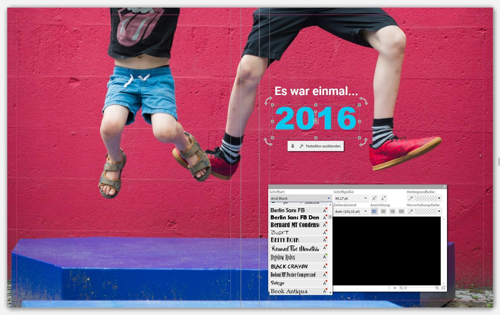 Screenshot Saal Digital Fotobuch Test Cover und Schrift