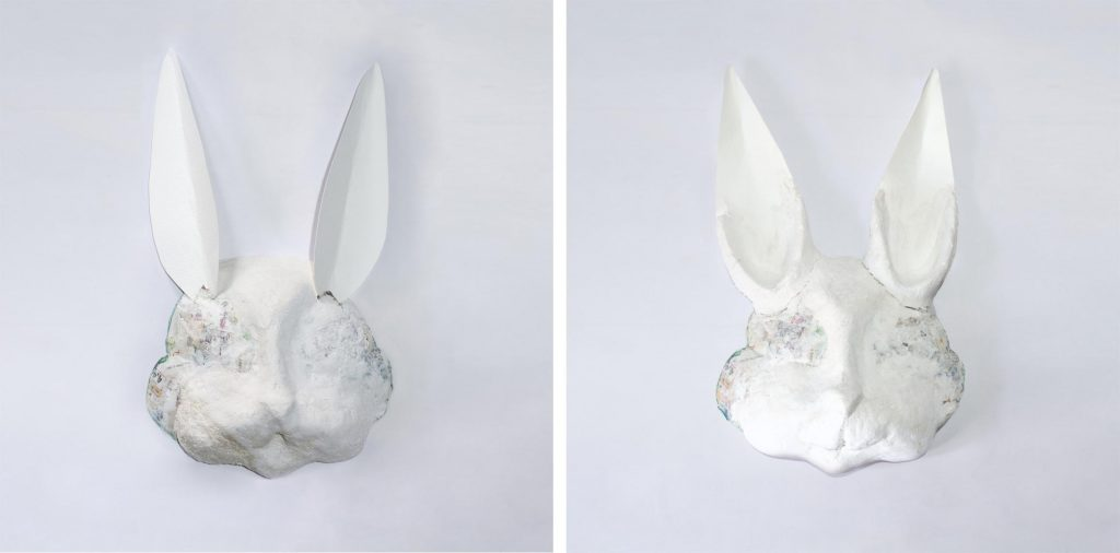 Hasenmaske aus Pappmaché DIY
