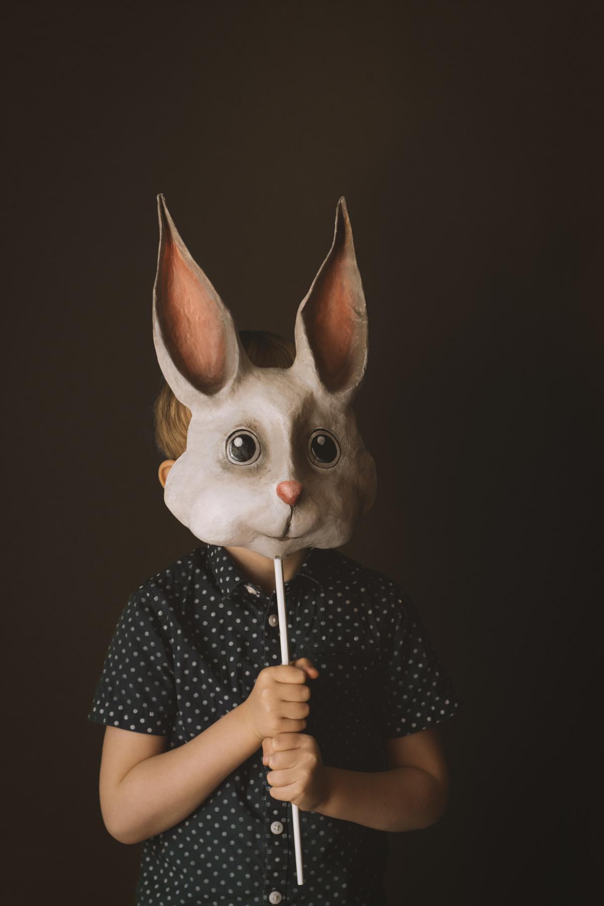 Pappmache Maske selber bauen DIY Hase Ostern